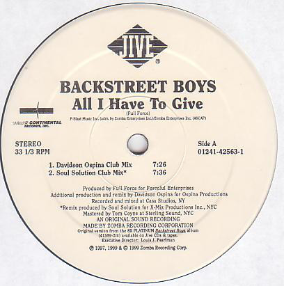 "[Discogs Bot] ""Backstreet Boys"" - ""All I Have To Give"" https://www.discogs.com/Backstreet-Boys-All-I-Have-To-Give/release/1184549 … / Youtube : https://www.youtube.com/watch?v=pj6FCKm8dhM … / #TODAYS_MY_COLLECTIONpic.twitter.com/WS9pmpQI2v"