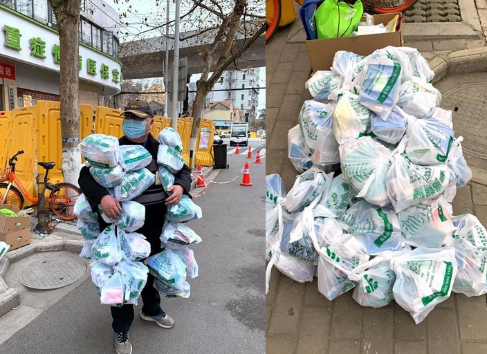 #COVID19 Photos of a community service worker carrying dozens of bags of medicine on him in #Wuhan has gone viral on Chinese social media. He helps residents with chronic diseases in the community by going out to buy medicine they need more: https://bit.ly/3clG6d2