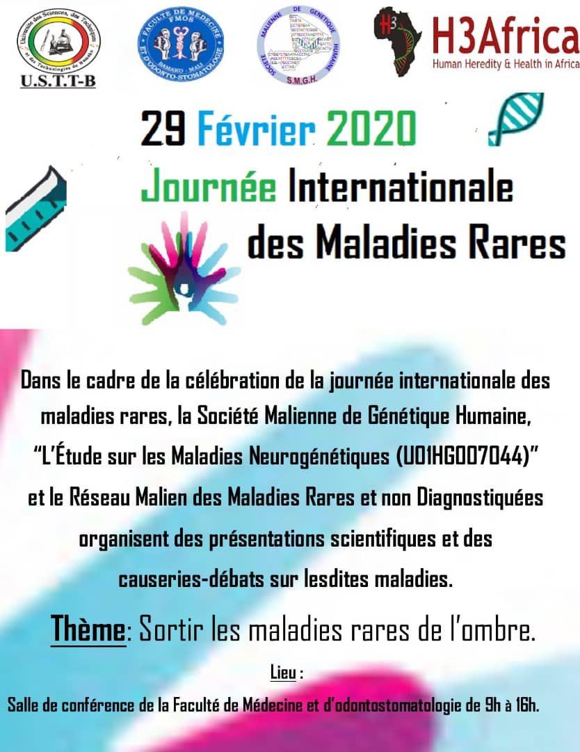 Journée internationale des @Maladies rares 29 Février 2020, Dr Oumar Samassékou présentant sur les difficultés liées aux Maladies Rares à la facultés médecine et d'odontologie FMOS #Mali @H3Africa @fmosmali #génétique