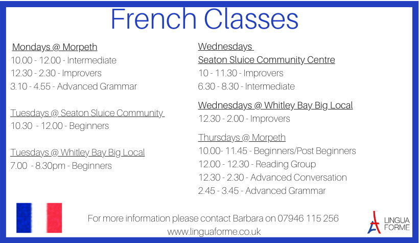 Already know some French but need extra speaking practice? Get in touch for fun and friendly classes #whitleybay #seatonsluice #nefollowers #Mintbizsupportpic.twitter.com/z6VJiiciW6
