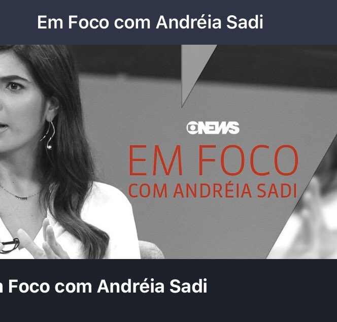 """Então, """"a novidade"""" que veio da @GloboNews ❤️🎉👇🏻🎯  Terça-feira: 23h #EmfococomAndreiaSadi na @GloboNews   Quinta-feira: 23h #PapodePolitica na @GloboNews"""