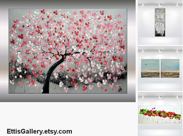 Acrylic Painting, Red Cherry Blossoms, pink #art #painting @EtsyMktgTool https://etsy.com/listing/633006473 … #abstractpainting #canvasart