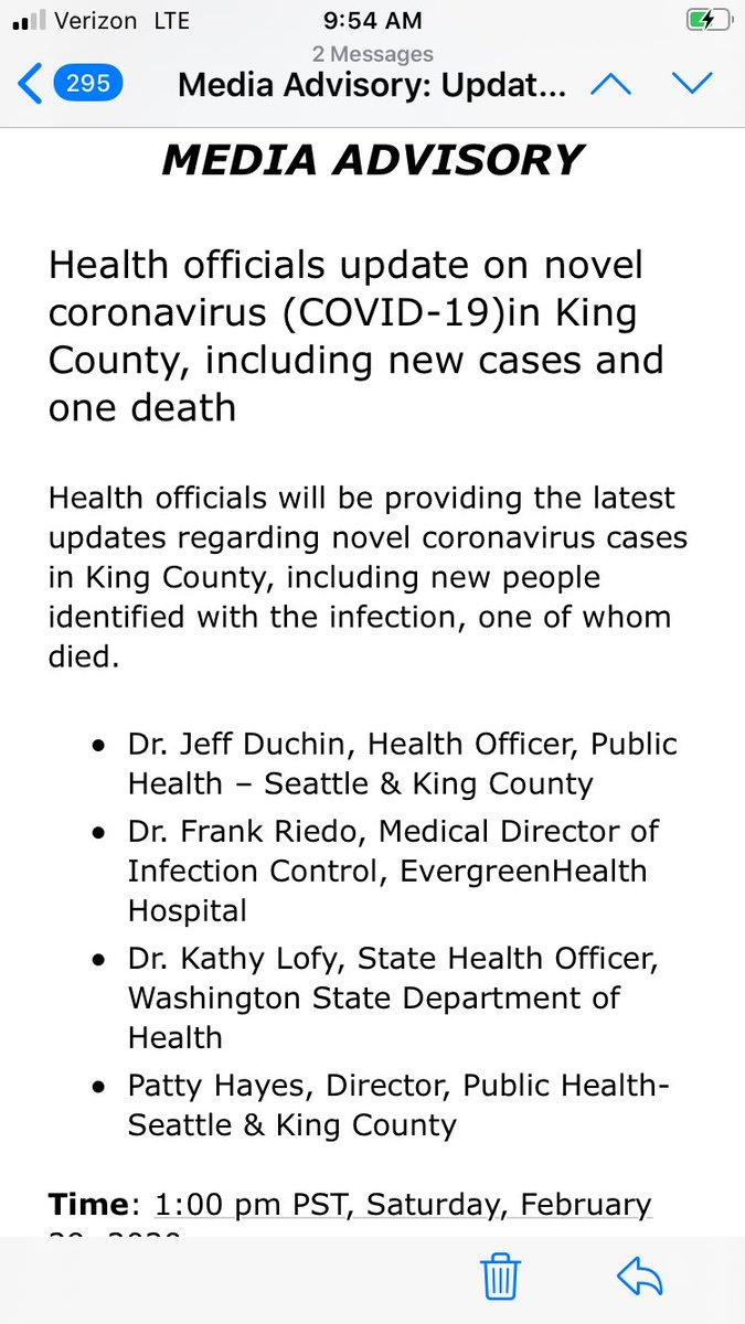 coronavirus in washington state king county