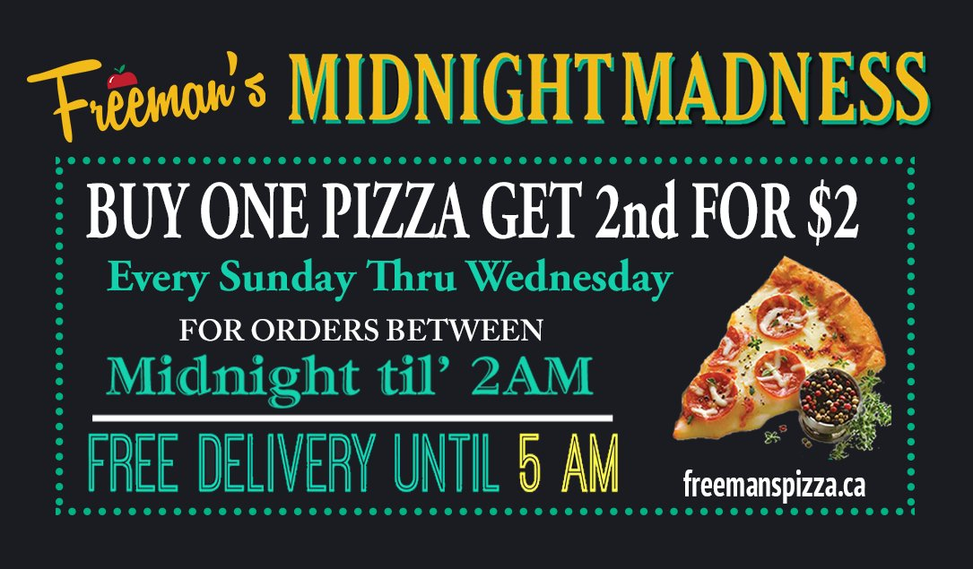 It's MidNight MadNess tonight 📣📣 Buy 1 Pizza & Get a 2nd #Pizza 🍕for just $2 when you order after Midnight tonight! Sun-Wed Midnight til' 2am! (902)455-7000 #latenight #pizza #Halifax #Sackville