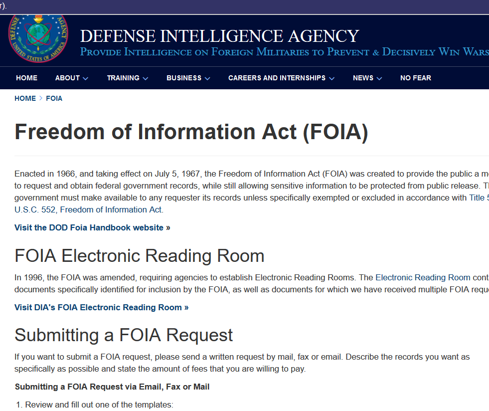 "Just requested ""Poppy"" Pete's LOA records from DIA.2009 to Dec. 2017.Letters of AuthorizationDefense Intelligence Agency application.Pentagon signs off on it.https://www.dia.mil/FOIA.aspx"