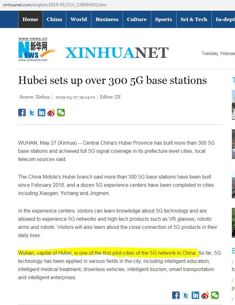Wuuuuuut fandt den her artikel fra 2019 fra kinas officielle nyhedsbureau, viser sig at Wuhan (som i Corona virus Wuhan) var den første pilot testby for 5G netværket i Kina #dkpol #dkmedier #Coincedence?