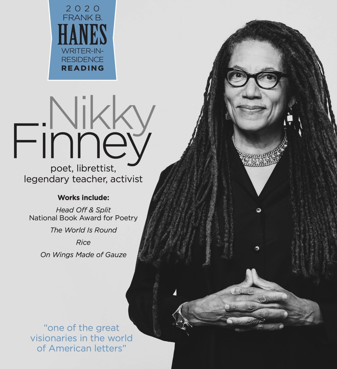 Nikky Finney comes to campus next week as @UNCECL's Hanes Writer-in-Residence. Her visit will also include two panels: https://t.co/BvRVx3GaB3 https://t.co/T92ssgNDMD