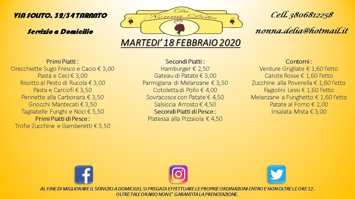 """Menù Martedì 18 Febbraio 2020 - Gastronomia """"Da Nonna Delia"""" @da_nonna_delia #danonnadelia #food #foodlovers #seafood #seafoodlovers #pranzo #lunch #primipiatti #secondipiatti #contorni #gastronomia #ristorante #taranto #puglia #tagsforlike #tagsforfollow #follow #like4likespic.twitter.com/G1cHlwAEtc"""