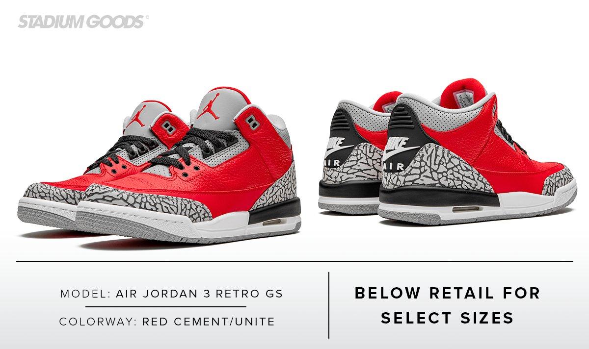 """Air Jordan 3 GS """"Red Cement"""" wasn"""