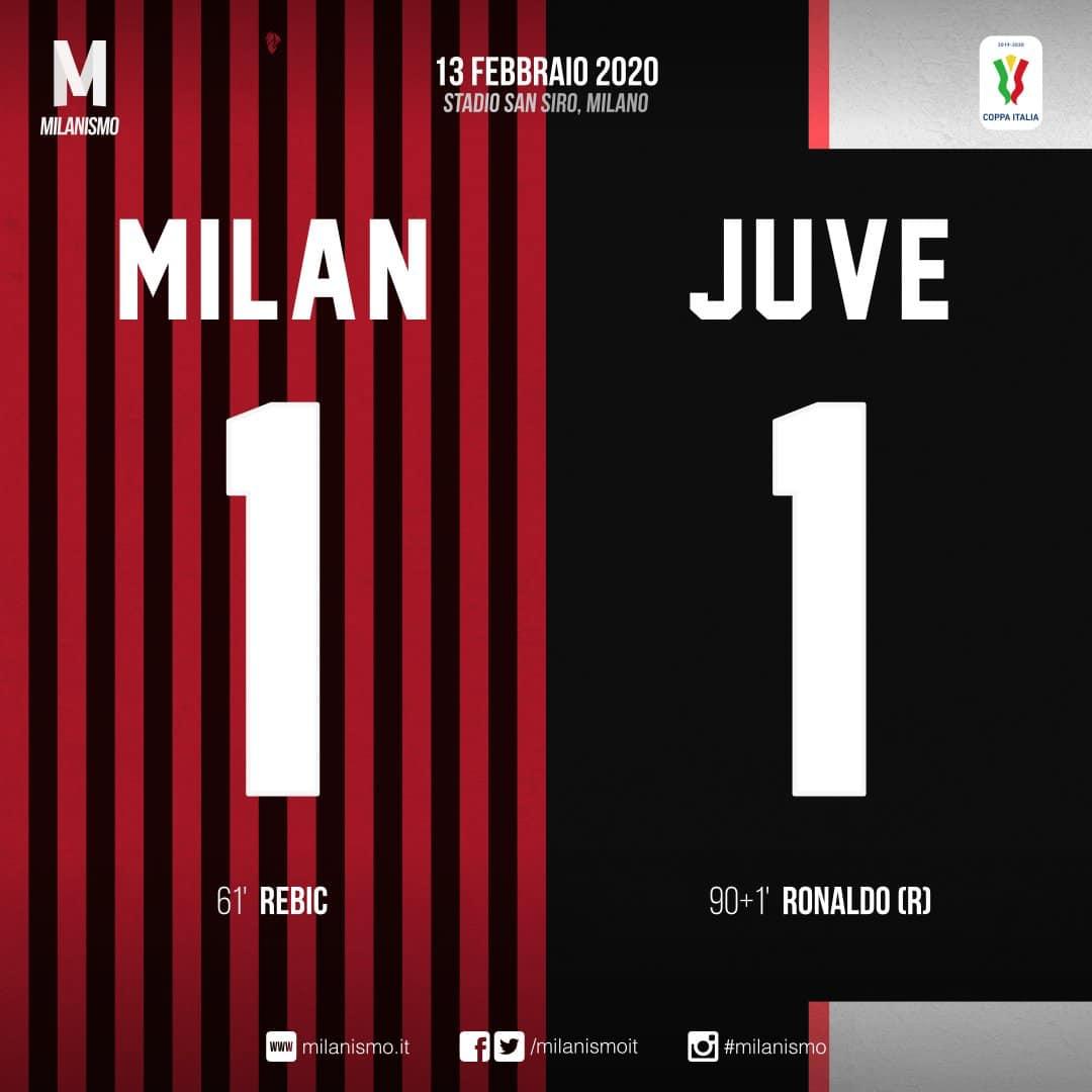 Coppa Italia TIM 2019-2020 Semi Finals 1e Leg (20:45) / Milan 1  -  1  Juventus (Full Time Score) #MilanJuventus #ForzaMilan #Rossoneri #WeLoveACM ★★★👊🏻🔴⚫️🇮🇹