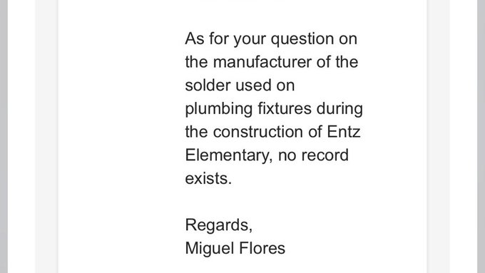 Suspicious?  @mpsaz  largest school district in #AZ is stating there are NO copies of the solder used to repair all the faucets at over 80 schools,  even though they've been telling me for over 2 yrs, they are working on obtaining the records.   Leaded-solder is illegal to use. https://twitter.com/SafeH2o4Schools/status/1224524750606614528…pic.twitter.com/Qenf2V89BH