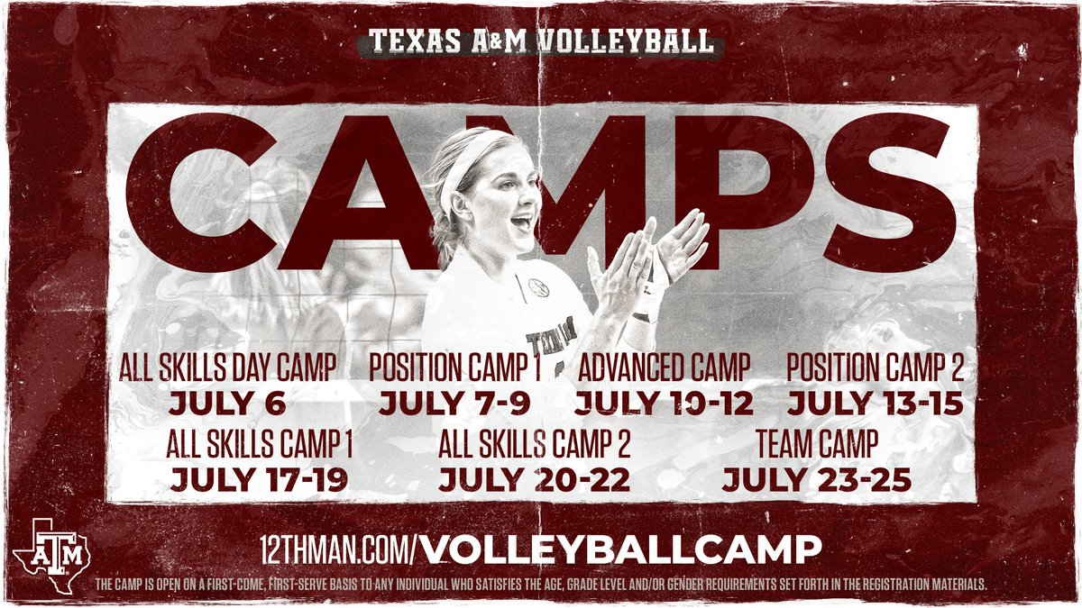 🚨REGISTRATION IS NOW OPEN🚨 Please visit 12thMan.com/VolleyballCamp to register!