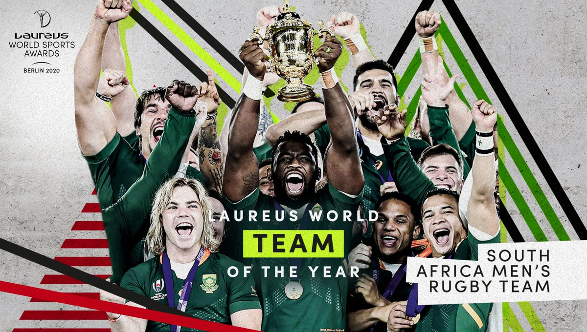 @LewisHamilton @TeamMessi @CompeticionFEB @BaloncestoESP @ChloeKim @Simone_Biles @OksanaMasters @Eganbernal @TeamINEOS @sachin_rt #StrongerTogether 🦌 💪 An incredible Rugby World Cup triumph which showed the unique power of sport to unite 🙌 Congratulations @Springboks on winning the Laureus World Team of the Year 🇿🇦 #Laureus20 #SportUnitesUs