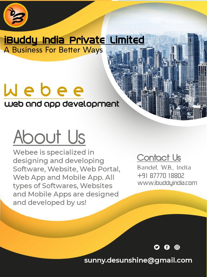 ✓ Software Development  ✓ Website Development ✓ Web Portal Development ✓ Web App Development ✓ Android App Development ✓ IOS App Development ✓ Hybrid App Development  ✓ SEO/SMO  CONTACT US iBuddy India Private Limited Bandel, India +91 87770 18802 contact@ibuddyindia.com pic.twitter.com/eOum5kPmD6