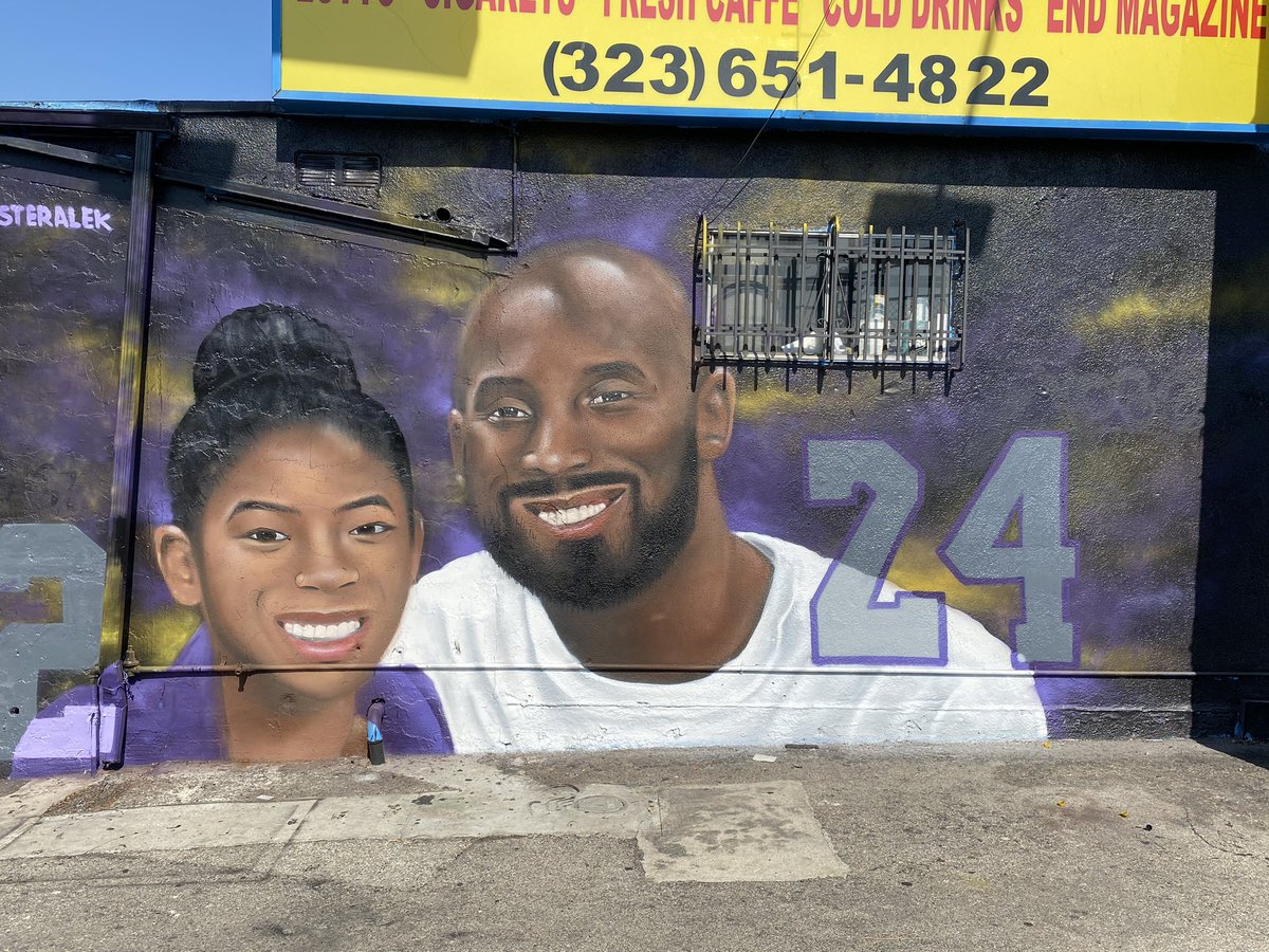 The #murals of #Kobe and #Gigi Bryant continue to pop up as Southern California continues to #grieve. Reaction from fans as they stop and reflect at the mural locations. Their story @ABC7 at 4 and 5.