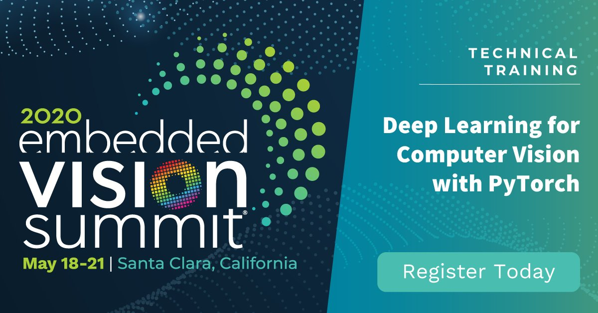 Dive into PyTorch with this 1-day hands-on training on Mon, May 18 in Santa Clara, CA. Start the day with the basics of deep learning and neural networks and finish feeling comfortable using PyTorch with CNNs for computer vision. Info and reg: https://embeddedvisionsummit.com/trainings/pytorch… #PyTorchpic.twitter.com/xLqiObcAwP