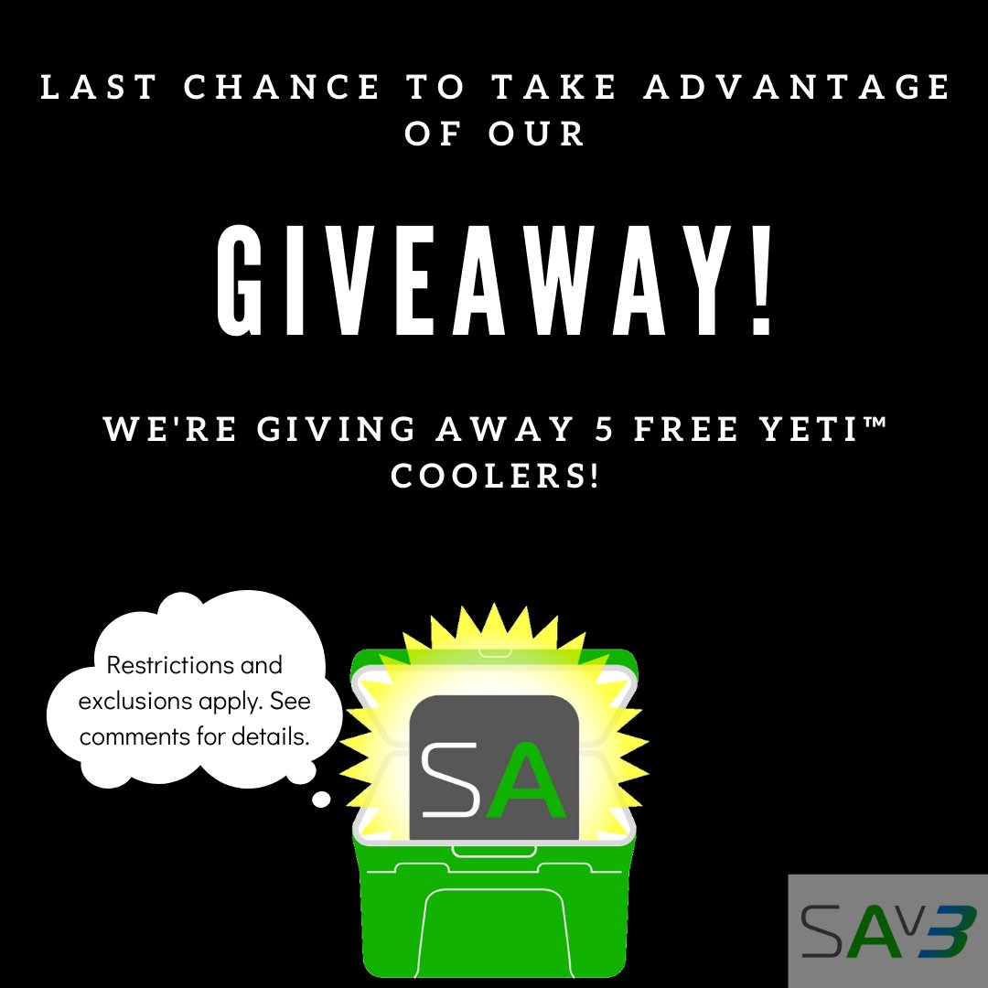 TODAY IS THE LAST DAY to enter for a chance to win in our FREE YETI™ Cooler GIVEAWAY! Sign up by 11:59pm (1st) TONIGHT. #SAgiveaway  . Restrictions apply... you must remain a Member thru March 31 and only 5 NEW Members will be chosen to win.  . http://bit.ly/2HeRqJX pic.twitter.com/VcOxvKwJSe