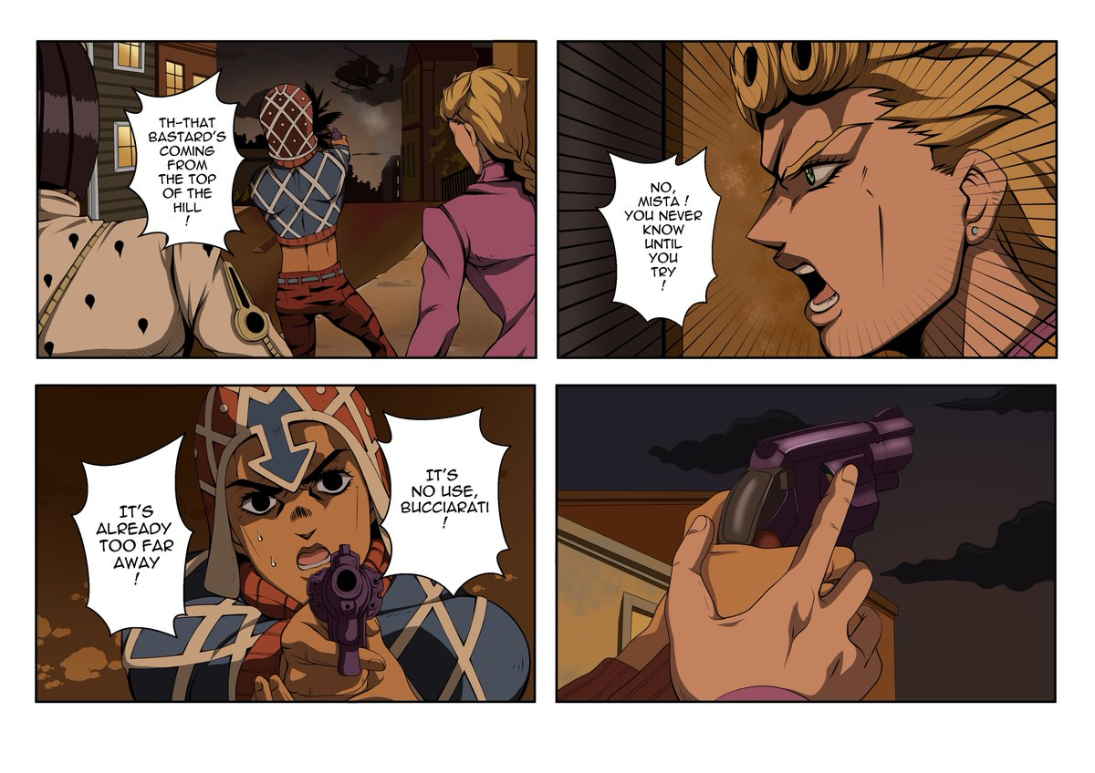 [ENG] Here is a little comic of #jojosbizarreadventure ! I've spent 5 days on it, it's far from being perfect but I hope u'll like it !!  Read each column from left to right (sorry, I don't really know how to properly explain that in english  hope u'll understand !) pic.twitter.com/NB8348ixHR