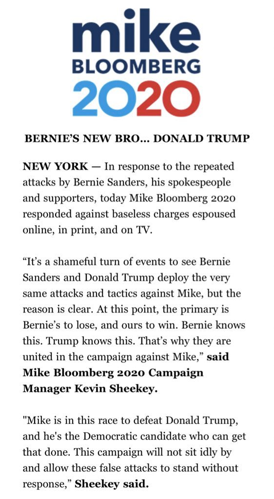 """Mike Bloomberg's campaign manager Kevin Sheekey releases a statement responding to attacks from Sanders.  Subject line: """"BERNIE'S NEW BRO… DONALD TRUMP"""""""
