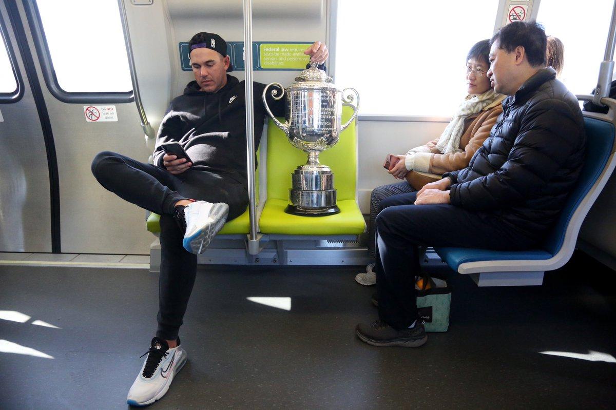 Brooks Koepka brings Wanamaker Trophy on San Francisco public transit ride