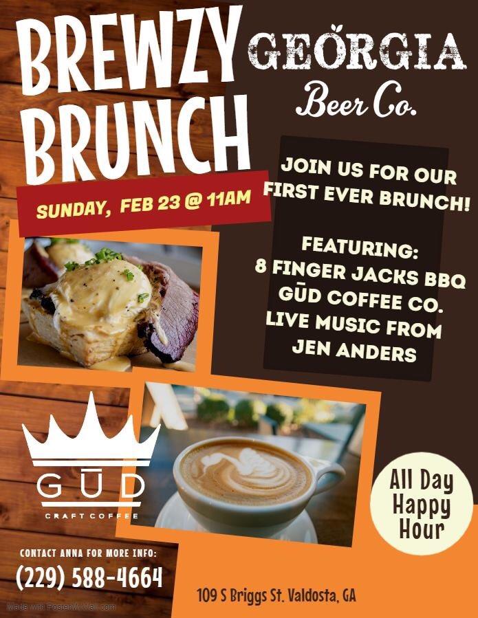 Brewzy Brunch this Sunday! Beer, coffee, brunch and music #gabeer #valdosta #georgia #brunch