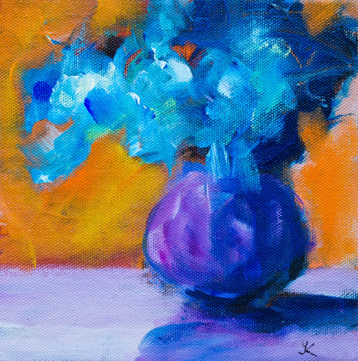 Blue flowers new paintinghttps://www.dailypaintworks.com/fineart/yulia-kazansky/blue-flowers/786390 … #art #fauvism #flowers