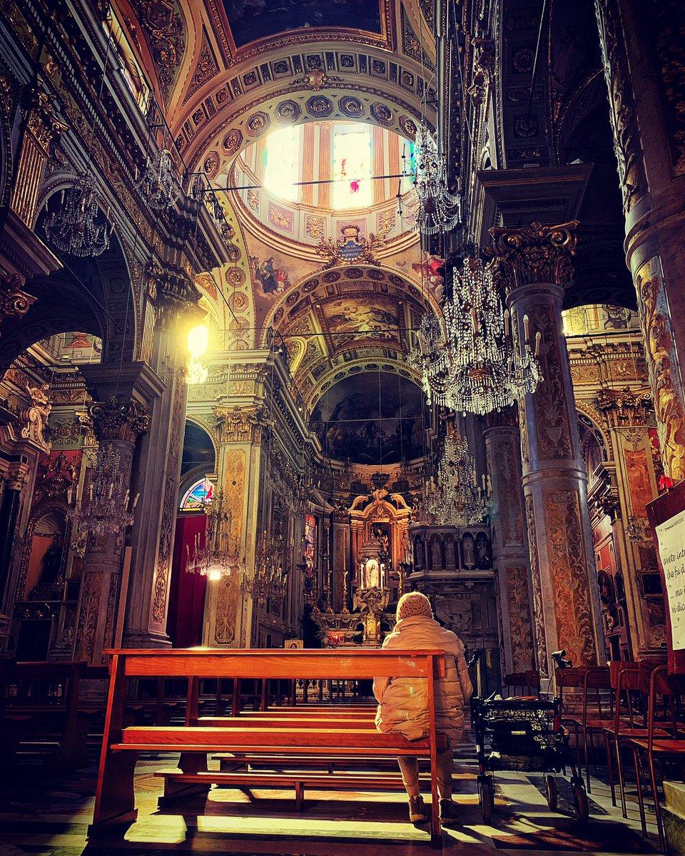 Santuario della Madonna della Rosa in nearby Santa Margherita was shot through with a golden winter sun
