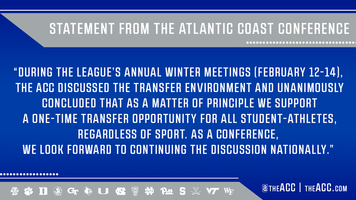 Statement from the ACC on transfer opportunity: