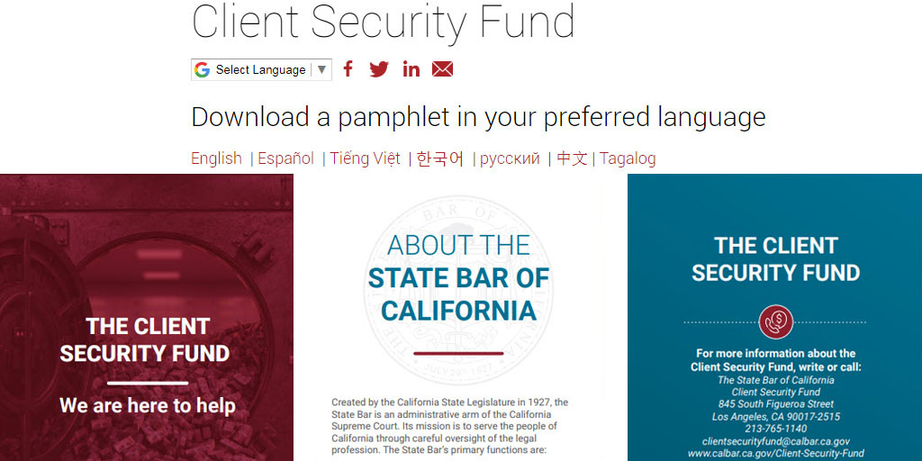 test Twitter Media - The Client Security Fund has distributed millions of dollars to victims who have lost money or property due to the dishonest conduct of an attorney. Visit our website for more info. & check out our consumer pamphlet available in 7 languages! Please share: https://t.co/tcYskK3DXJ https://t.co/mbJSXL71Si