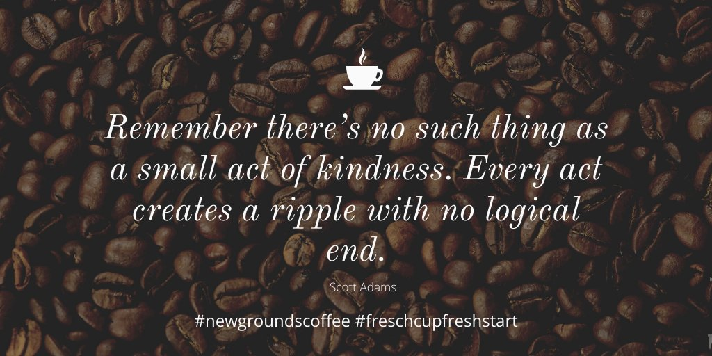 Today, go out of your way to do something kind for a stranger. You never know what they are going through or what impact your small gesture may have. #newgroundscoffee #newgrounds #reentry #randomactsofkindness #coffeetalk