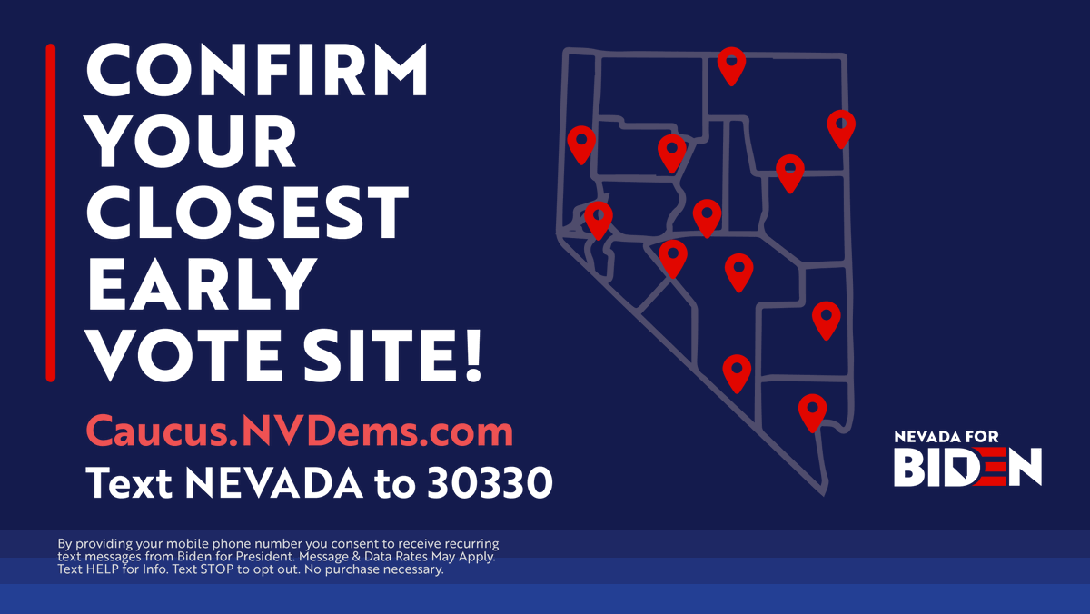 Nevada — you can early vote now! Don't wait until Saturday to make your voice heard, head to https://caucus.nvdems.com/ to confirm your polling location and early vote today.