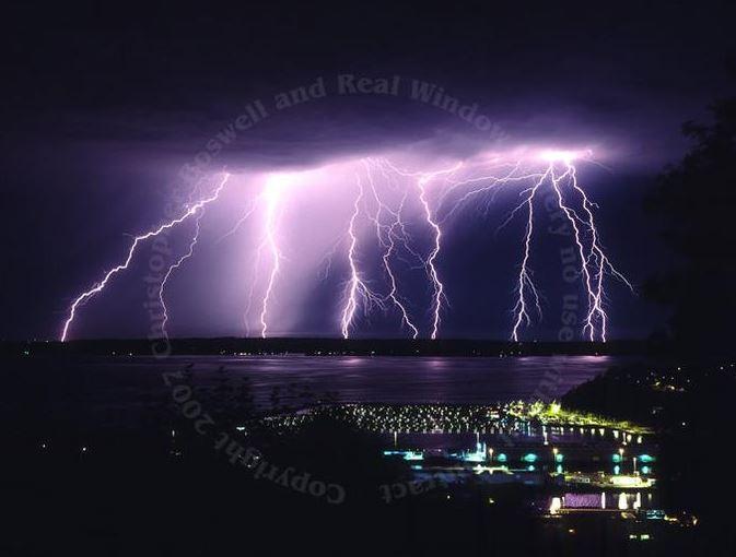 Storm Over Puget Sound Lightning Electrical Storm Seattle   #art #lightning #nature #storm