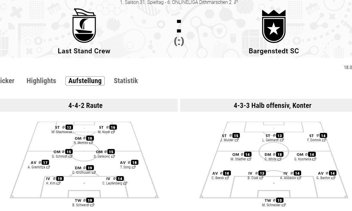 Auch gegen Bargenstedt vertraut Golding auf eine 4-4-2 mit Raute. Letztlich gibt es auch nur eine einzige Änderung, für Kröpke kommt Schmidt wieder ins Team.  Gremlitza, Laufenberg und das offensive Triumvirat Muniss, Stacko und Koydl sind allesamt in Topform (5/5). pic.twitter.com/igbgrT6EeP