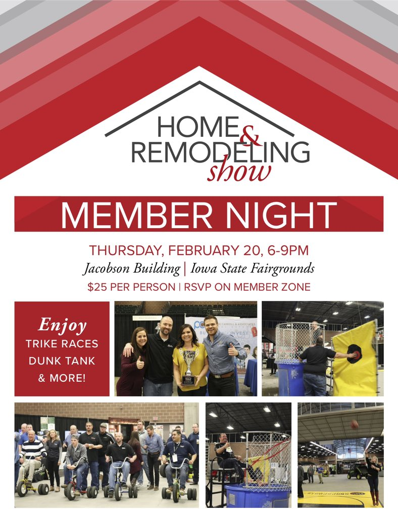 Don't Forget To Sign Up For The Home & Remodeling Show Member Night, This Thursday, February 20th From 6-9 PM! Contact Jessica At 515-270-8500 or Email jessicav@dsmhba.com To RSVP ! Hope To See You There!   #homebuildersassociation #dsmhba #catchdsm #desmoines #constructionpic.twitter.com/u8bQ59FzxC