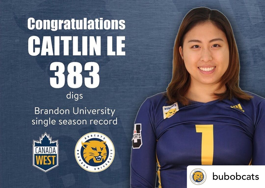 What a year and what an accomplishment, Caitlin! #OPAFamily Congrats to Caitlin Le on setting another school record - 383 digs in one season. Caitlin surpassed Bobcat great Donata Huebert for yet another record and averaged 4.35 digs per set, good for 2nd in Canada West. #bdnmb pic.twitter.com/0ZuOfKu7yG