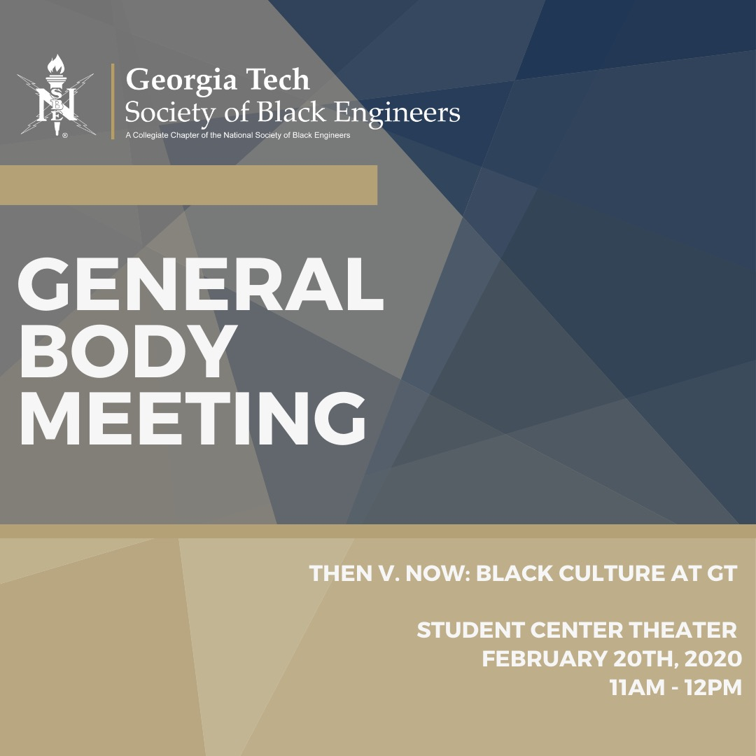 The focus of this week's general body meeting will be Black History Month. More specifically, we'll compare past black GT to the current black GT. Join us, this Thursday, in the Student Center Theatre, as we explore the transitions that black culture underwent at Georgia Tech. pic.twitter.com/X6Rj19bQ8B