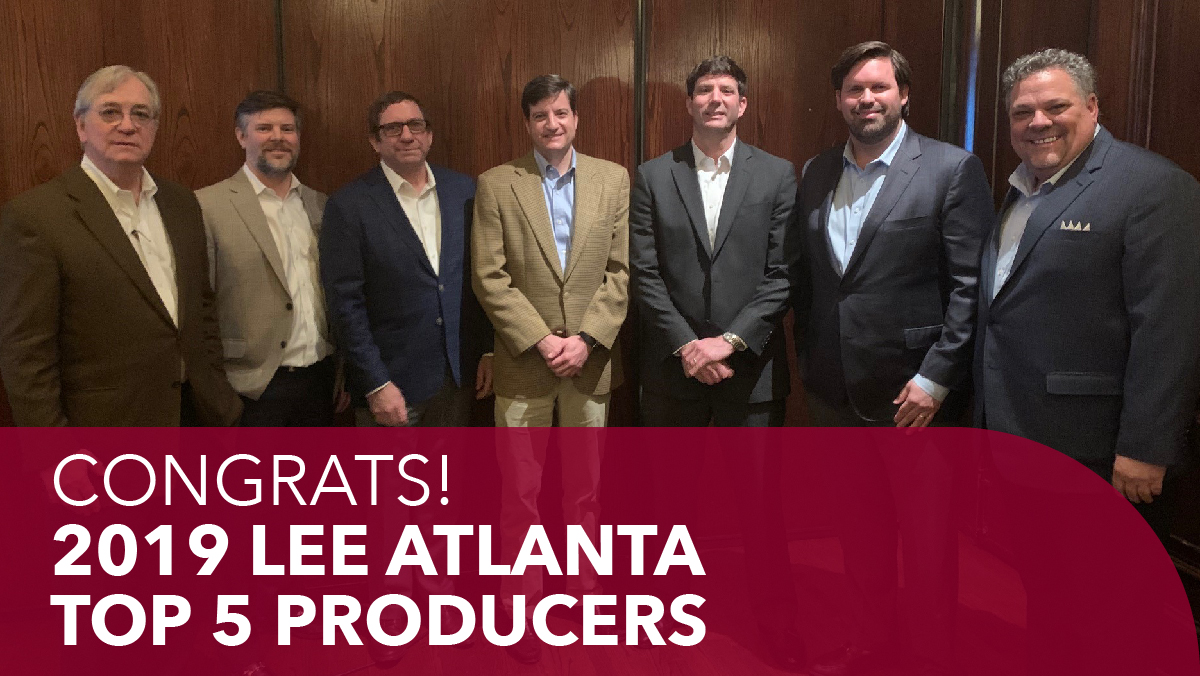 Congratulations to our top 5 producers of 2019! Michael Sutter, Tyler Flemming, Trip Ackerman, Craig Viergever, and Billy Snowden  #LeeAtlanta #AtlantaCRE #CommercialRealEstate #realestatebrokers #leeandassociates #CREpic.twitter.com/oBmZ1g6t8J