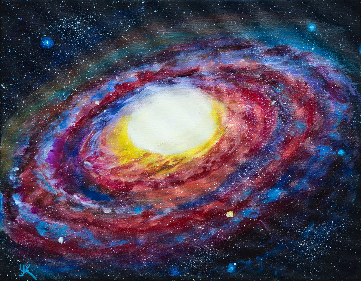 New acrylic painting 11x14 in Elliptical Galaxy. It's not a some particular galaxy, inspired by Hubble photographs.https://www.dailypaintworks.com/fineart/yulia-kazansky/elliptical-galaxy/786517 … #astronomyart #galaxypainting #spaceart