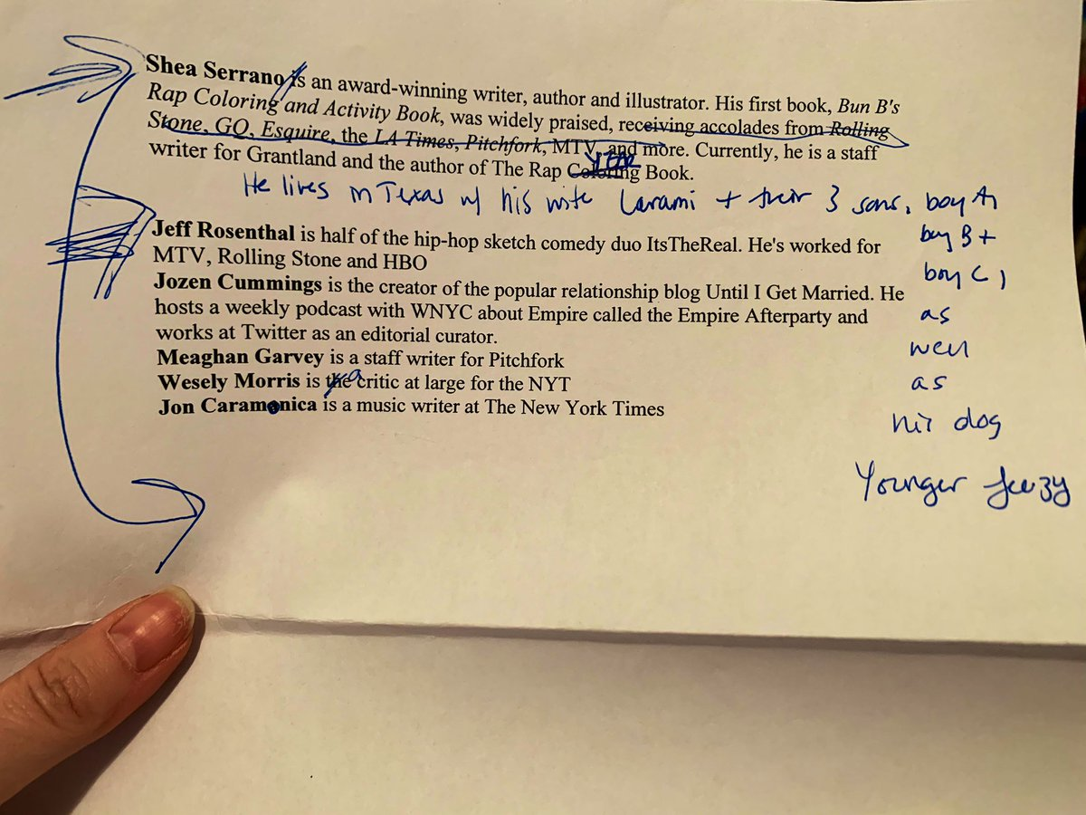 While going through piles of old papers today I found this intro I wrote about @SheaSerrano for the book launch party for TRYB, which I learned I was emceeing about three hours before it happened. It seems that I can always be counted on in a crisis. pic.twitter.com/EavSLwqSUK