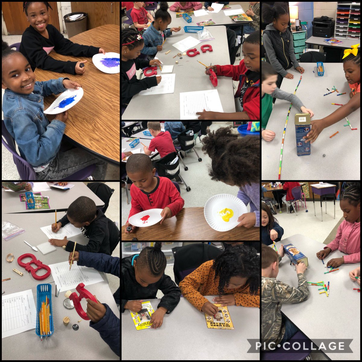 Learning about magnets through exploration!  #sumterstrong #handsonlearning #rm309rockspic.twitter.com/6kMszE2nlj