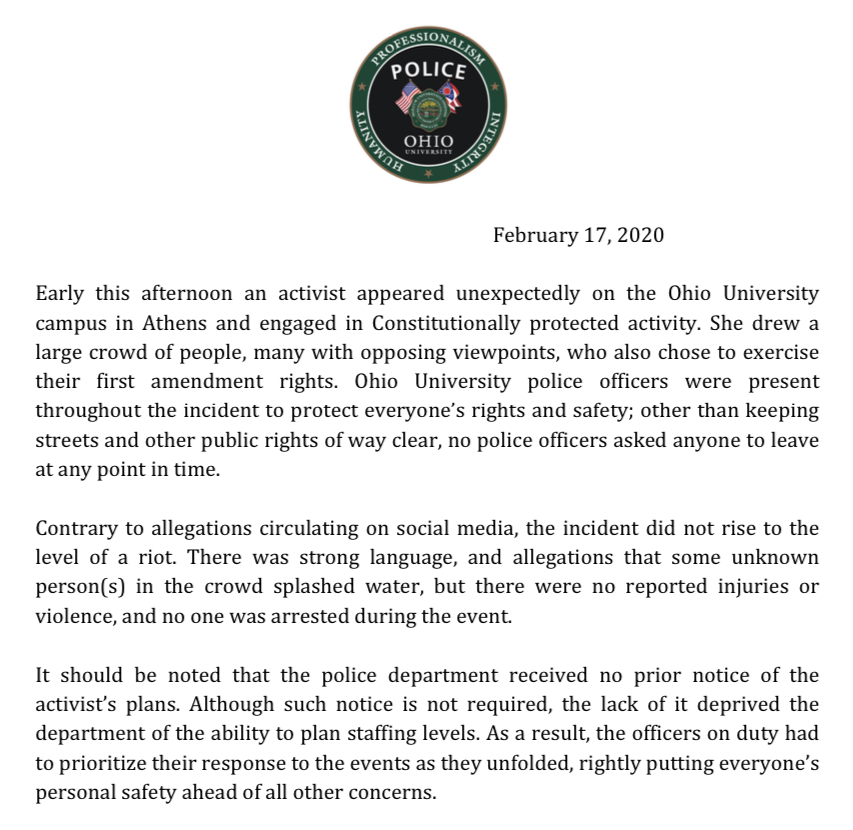 Please see the attached statement regarding a protest incident today on the @ohiou Athens campus.