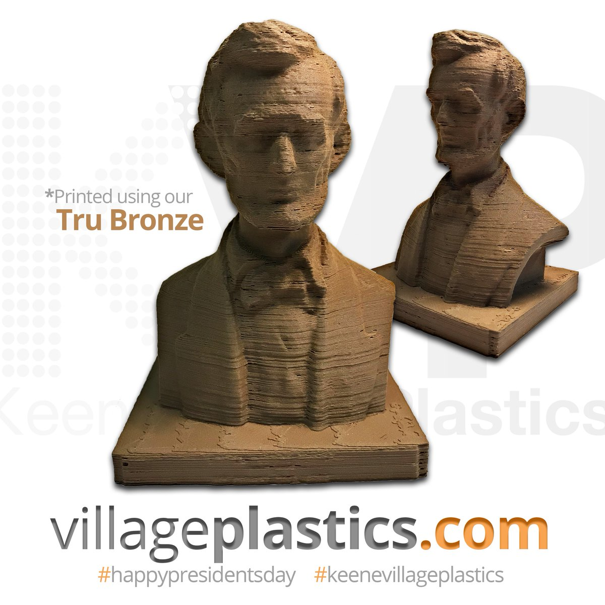 What better way to celebrate #PresidentsDay than with a 3D-printed bust of #HonestAbe??? 🇺🇸 • • • • #3dprinting  #3dfilament #art #3dprints #tech #design #3dart #3ddesign #filament #makeshaper #technology #techsale #filaments #trubronze #abrahamlincoln
