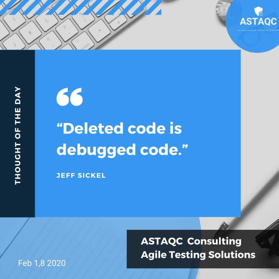 """Deleted code is debugged code.""  #softwaretesting #teamastaqc #instagram #view #qualitycontrol #software #qualityassurance #informationtechnology #testing #entrepreneur #agile #best #softwaredevelopment #quality #grow #qa #fast #success #application #softwaresolutions #digitalpic.twitter.com/fF1Soj3gkD"