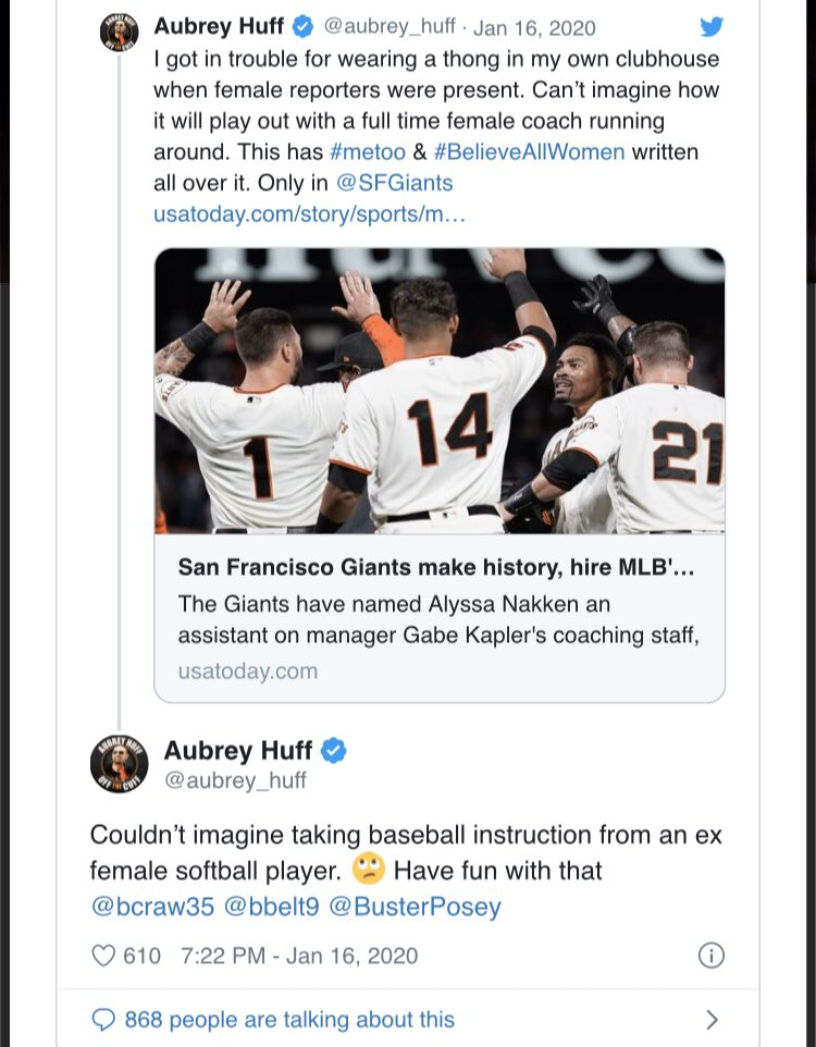 Image result for aubrey huff tweet about female coach