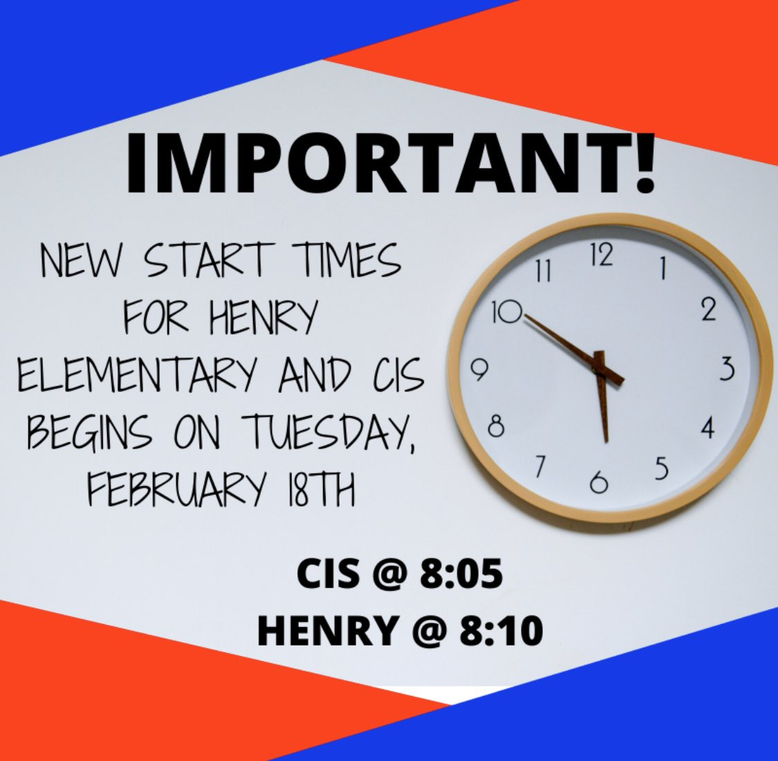 Don't forget that our new start time begins tomorrow!! https://t.co/MKlHP1BmI2