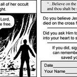 Image for the Tweet beginning: 福音派キリスト教原理主義者の漫画家によって描かれたダンジョンズ&ドラゴンズの悪魔崇拝を批判する漫画、ラスト数ページで突如登場した神父が全部燃やして解決まで持っていくドリブン感がむしろ清々しいくらい。