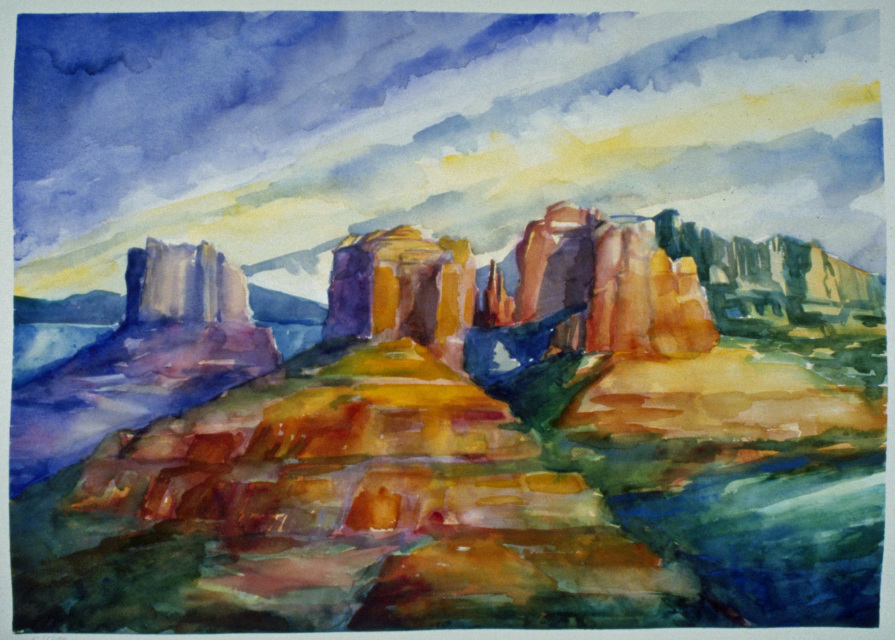 Cathedral Rocks 2 http://ow.ly/Qcoo50ykKmV  #contemporarylandscapepainting #buyart #originalart #art #fineart #interiordesign #collectart #artlover #artforsaleonline #forsale #paintings #watercolor