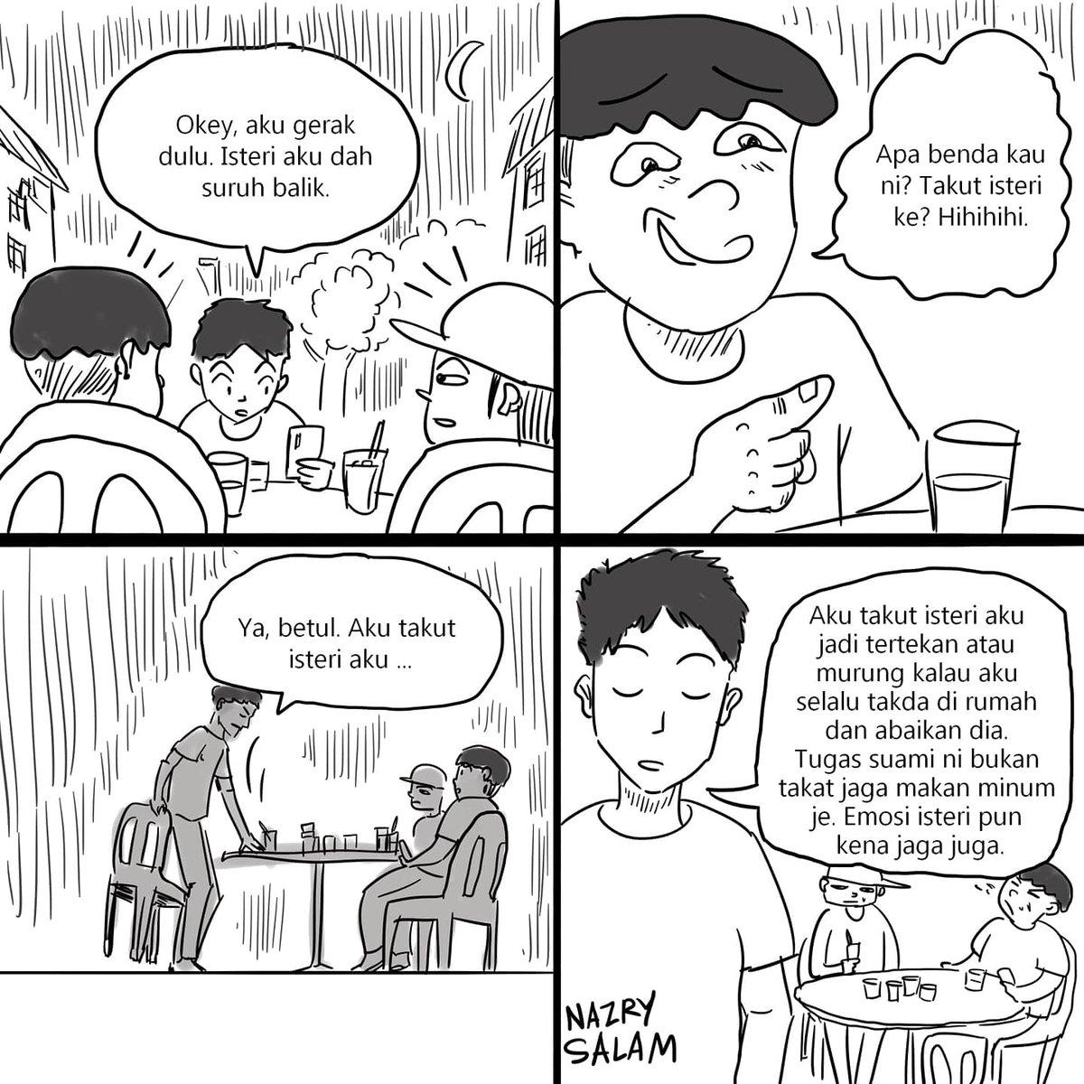 Komik #95  Tugas suami bukan takat kerja cari duit. Besar tanggungjawab kita sebagai lelaki ni.  #komikNazrySalam #NazrySalam #komikMalaysia #SkuadMisipic.twitter.com/OBdsTkWpSH