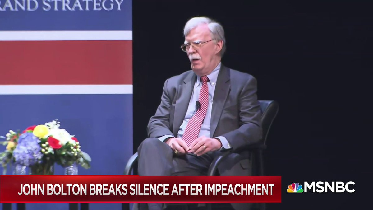 "BREAKING: John Bolton spoke publicly for the first time since the impeachment trial.   He was asked whether he thought Trump's July 25 call was ""perfect.""  Bolton says ""you'll love Chapter 14"" of his book.  #Hardball"