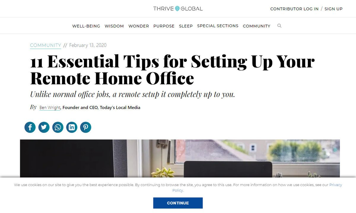 11 Essential Tips for Setting Up Your Remote Home Office - Thrive Global #place #home #time #someone #work #remotework via  ☛